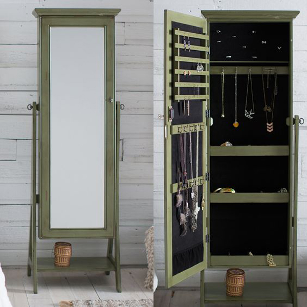 Rustic Dark Green Standing Mirror Jewelry Armoire
