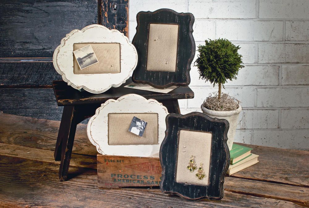 Vintage Distressed Wood Picture Frame Jewelry Holders Set