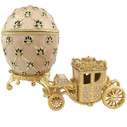 Beige Coronation MiniCoach Faberge Easter Egg Jewelry Box Zen