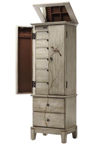 ... Tall Jewelry Armoire With Chirping Birds On Branch. ; 