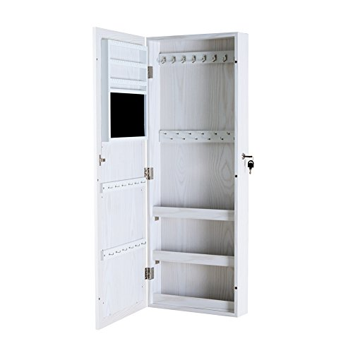 Gls White Wall Door Mount Jewelry Armoire With Mirror