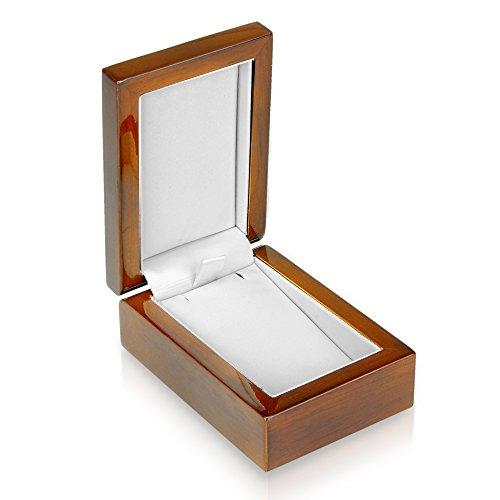 Geff House Walnut Wood Pendant Earring Jewelry Gift Box