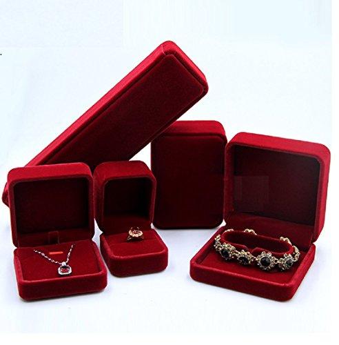 Black red elegant velvet display set with boxes for for Red velvet jewelry gift boxes