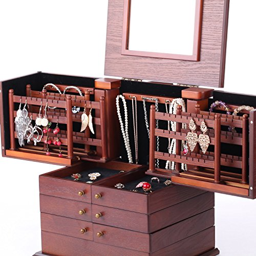 Large Wooden Jewelry Box Armoire Cabinet Earring Organizer