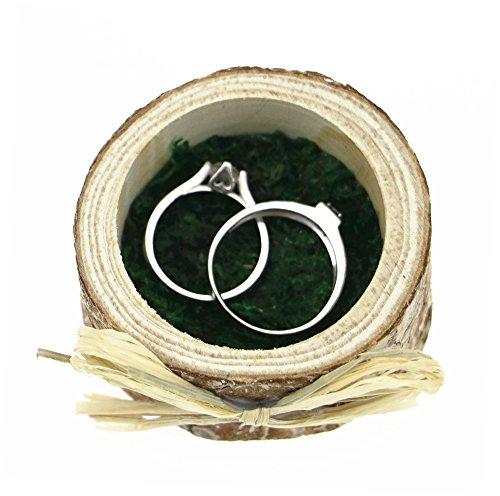 Cute Hedgehog Figurine Wooden Trunk Shaped Wedding Ring Box Zen