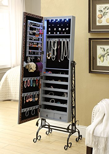 Mirrored Jewelry Cabinet Armoire Organizer W Stand Tilting ...