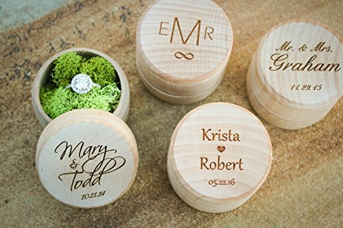 Cute Ring Pillow Alternative Engraved Wooden Round Wedding Ring Box