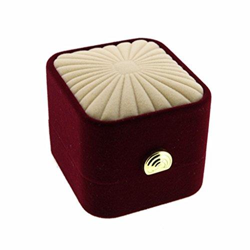 Dark red champagne premium velvet flocked jewelry ring for Red velvet jewelry gift boxes