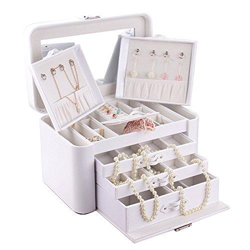 Rowling White Pu Leather Large Jewelry Organizer Countertop Box