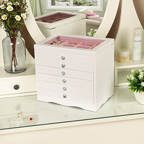 6Layer White Pink Extra Large Girls Countertop Jewelry Organizer