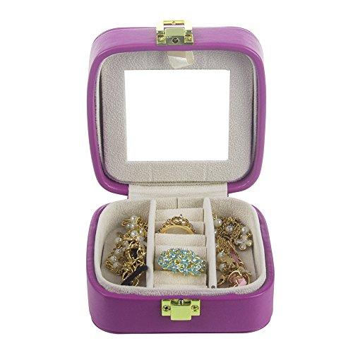 Cute Portable Small Purple White Interior Mirrored Jewelry