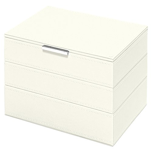 Small White Mist Triple Tier Swing Design Stacking Jewelry Boxes