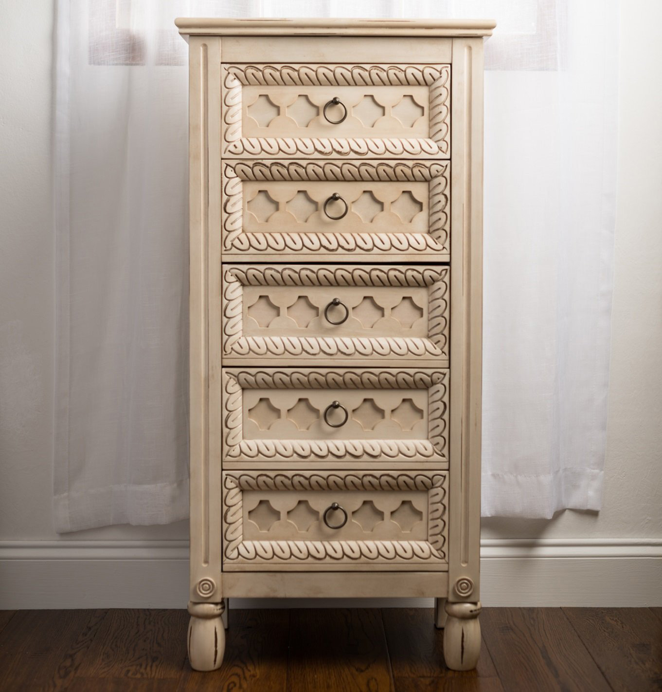 Creative Rustic Decorative White Free Standing Jewelry Armoire