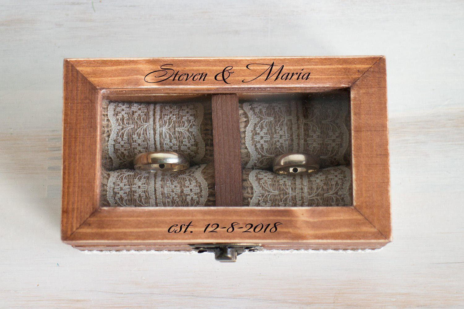 Cute Rustic Wooden Glass Lid Wedding Ring Box