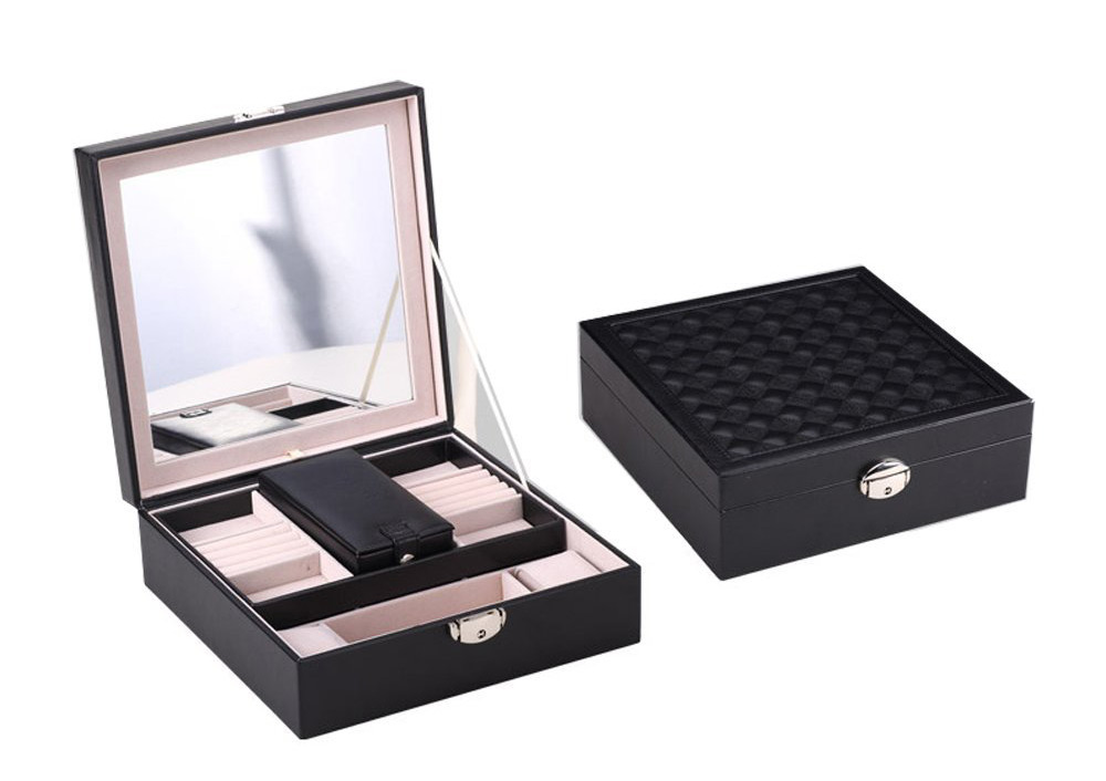 Elegant Black Mirrored Locking Jewelry Box