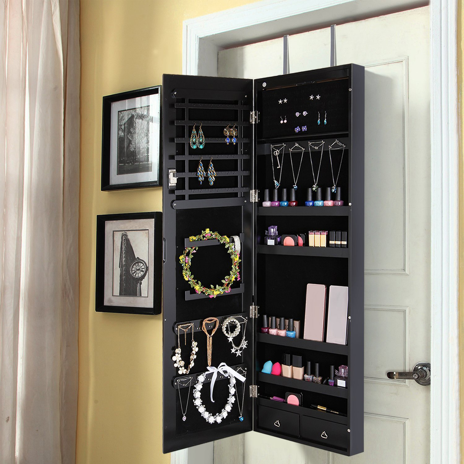 Elegant Black Mirrored Over The Door Hanging Jewelry Armoire