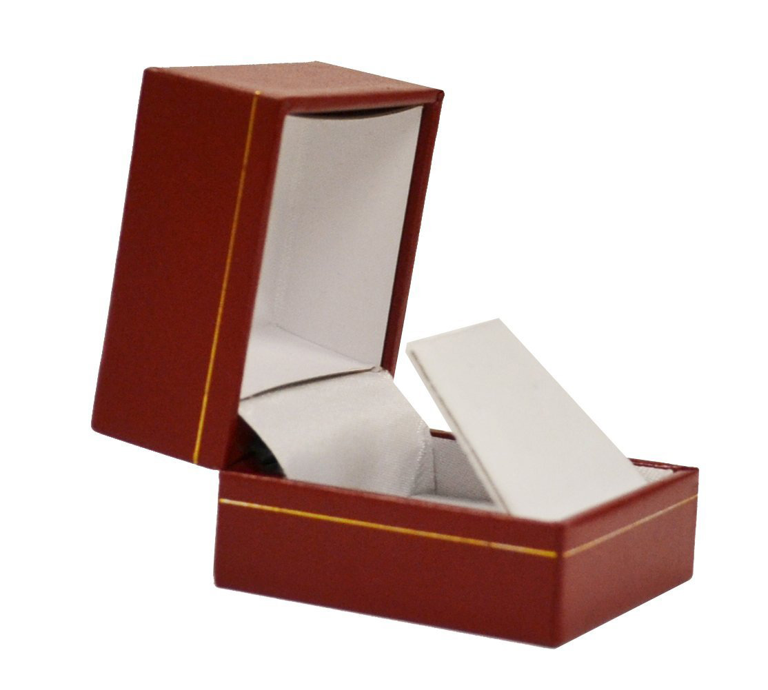 Elegant Dark Red Gold Lined Earring Box