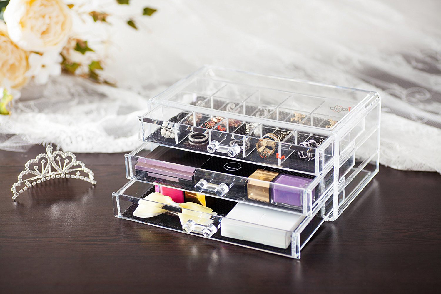 Elegant Large Capacity Wide Countertop Transparent Acrylic Jewelry Box