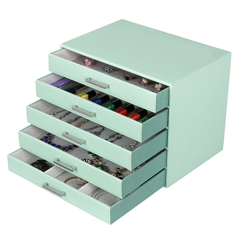 Minimalist Light Green Stitched Faux Leather Tiered Jewelry Box