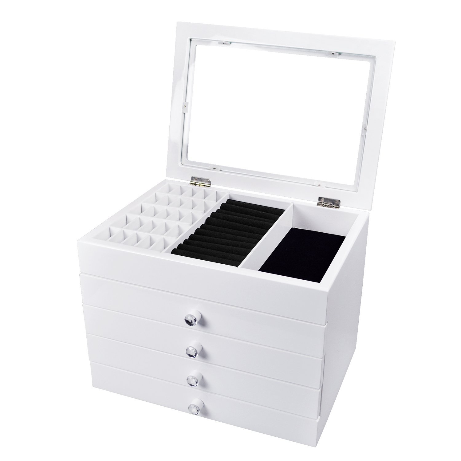 Tall White Countertop Jewelry Box with Drawers & Glass Lid