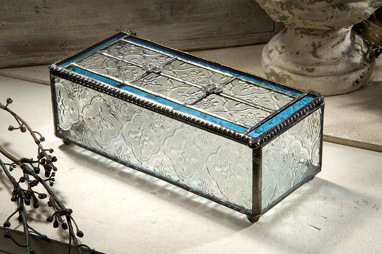 Beautiful Decorative Glass Brass Jewelry Chest