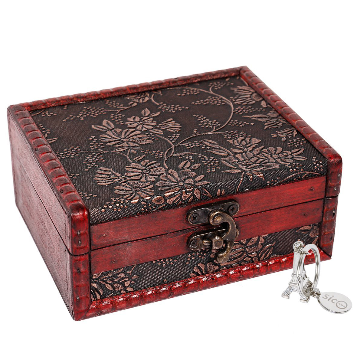 Beautiful Red Floral Pattern Vintage Wooden Locking Jewelry Box