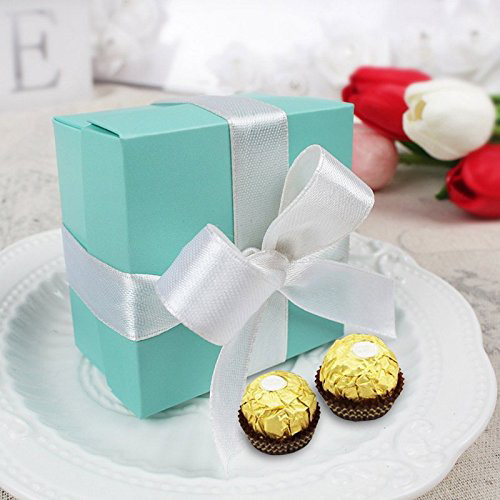 Cute Teal Silver Ribbon Jewelry Gift Box