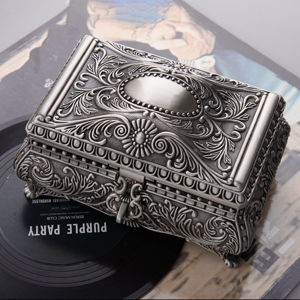 Elegant Silver Antique Jewelry Box