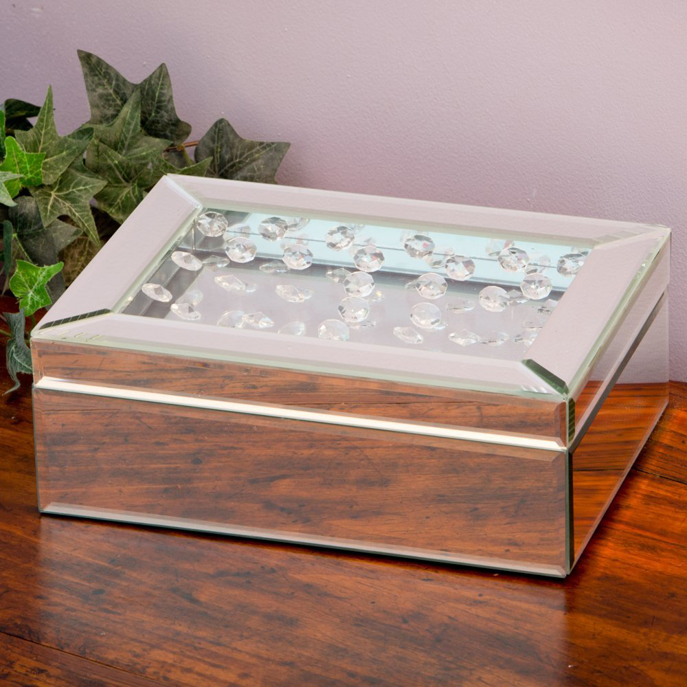 Beautiful Crystal Covered Lid Mirrored Jewelry Box