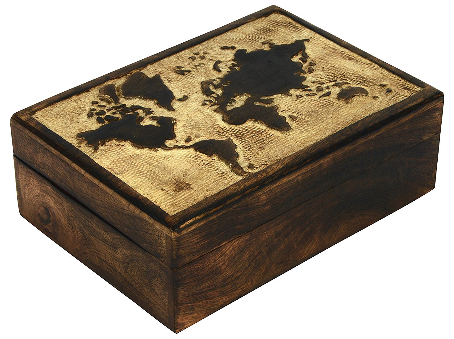 Beautiful Vintage Geography Theme Dark Wooden Trinket Box
