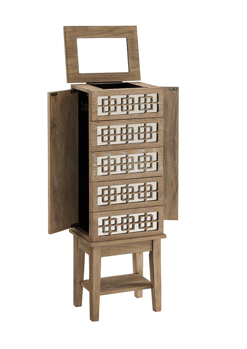 Creative Minimalist Wooden Standing Jewelry Armoire