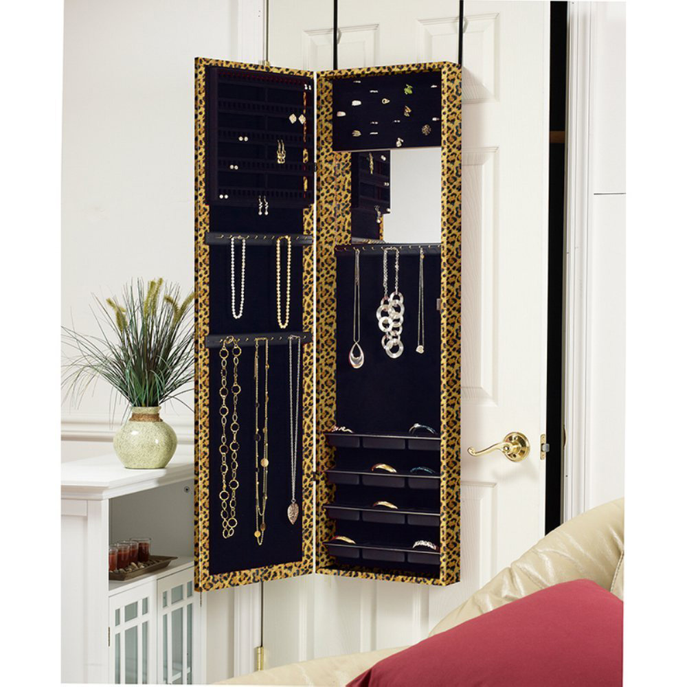 Cute Leopard Print Design Over The Door hanging Jewelry Armoire