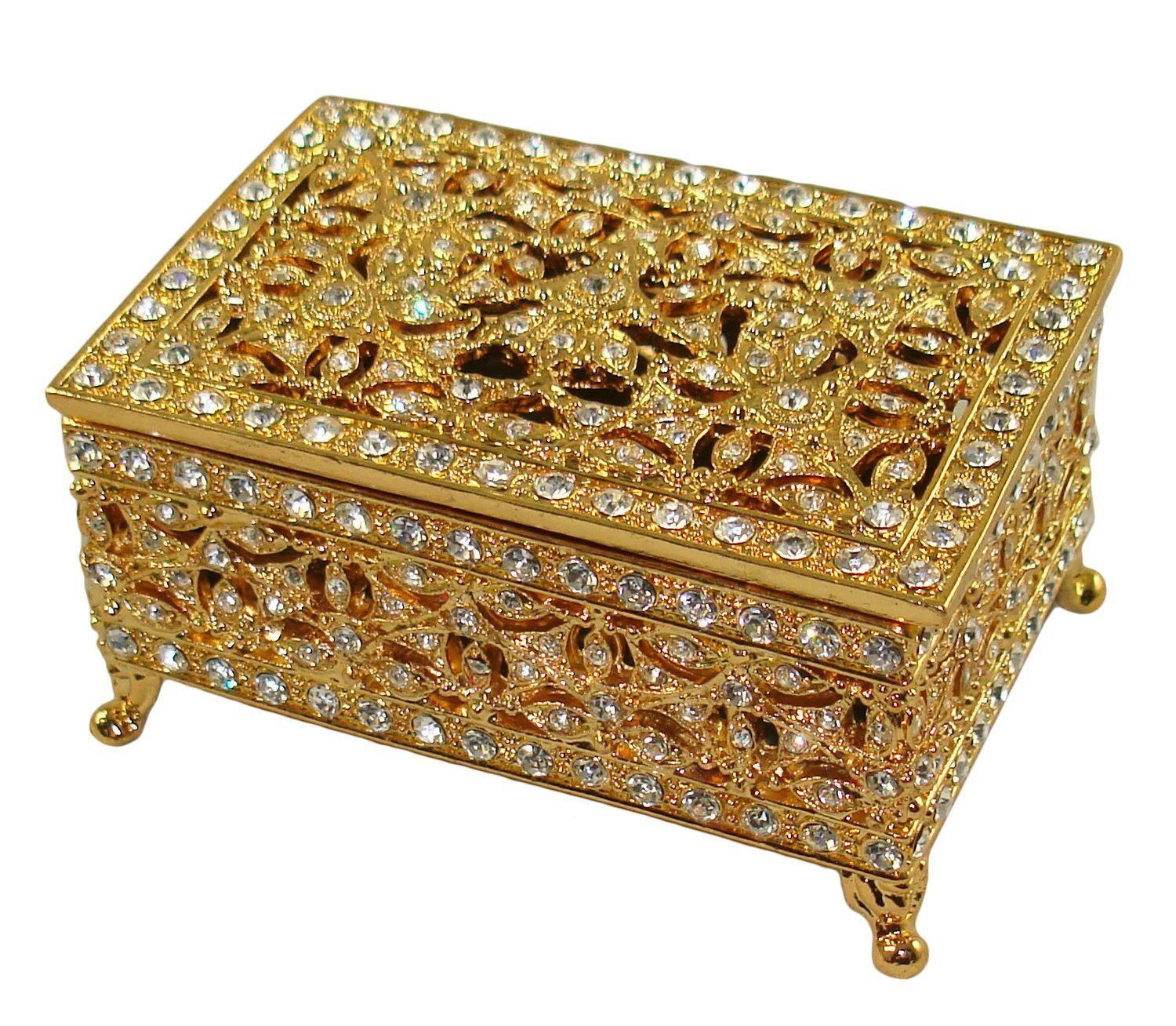 Stunning Intricate Golden Swarovski Decorated Antique Jewelry Box