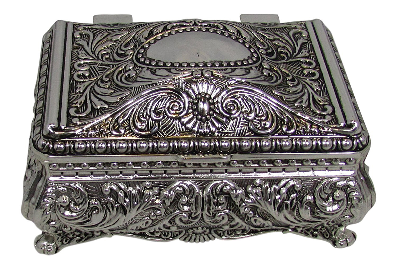 Vintage Intricate Silver Design Small Jewelry Box