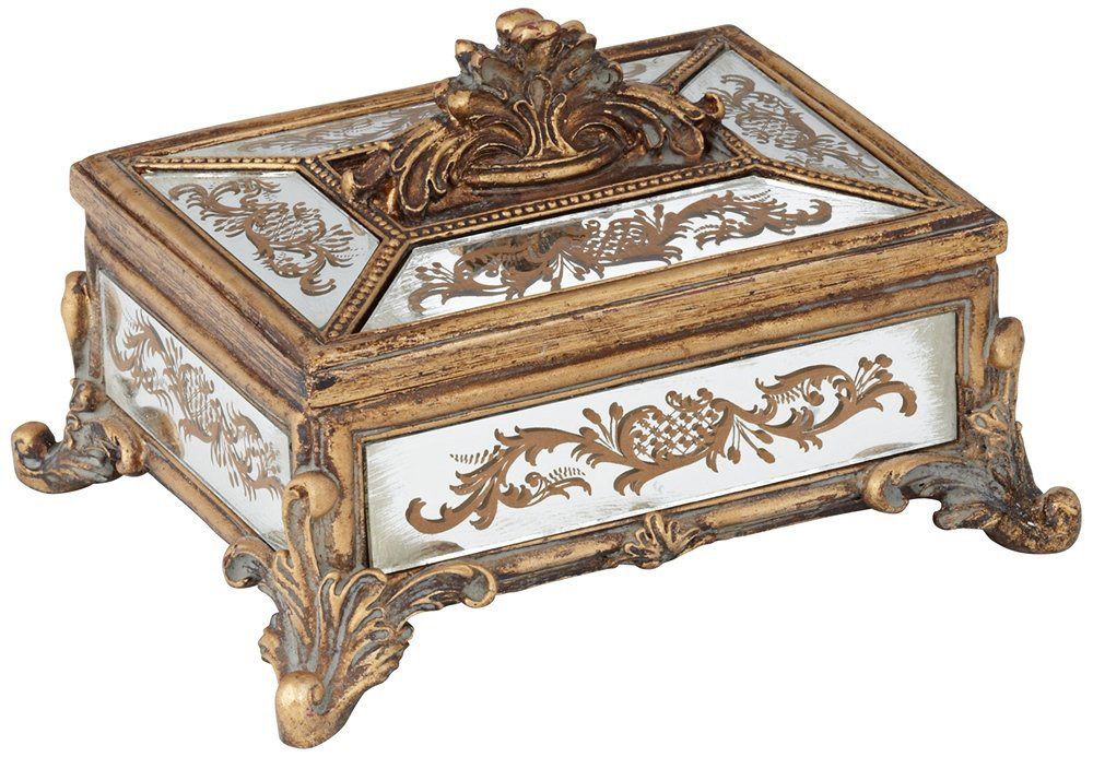 Beautiful Antique Distressed Wood Intricate Jewelry Box