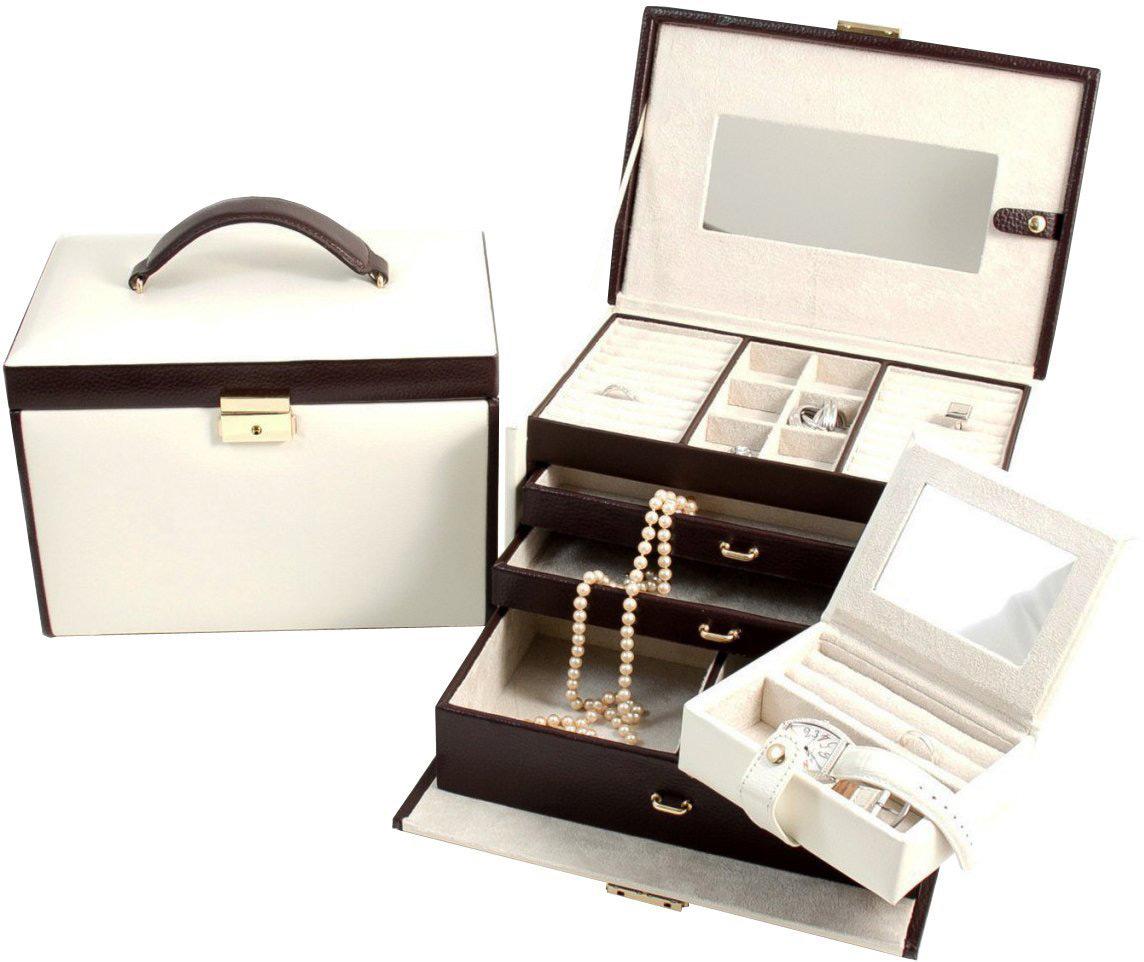 Beautiful Locking Cream White Large Jewelry Travel Box