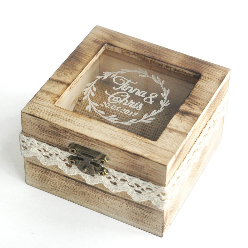 Beautiful Rustic Glass Lid Wooden Wedding Ring Box