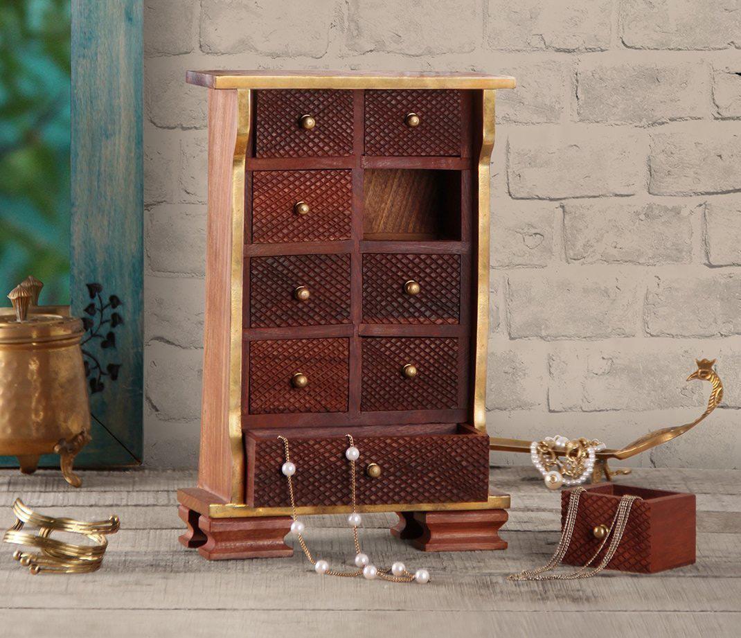 Creative Countertop Golden Trim Wooden Jewelry Armoire