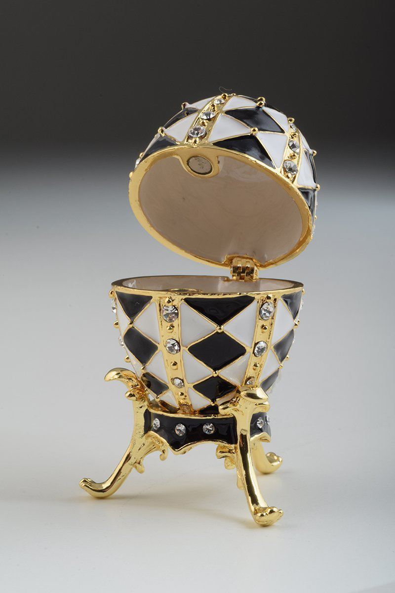 Elegant Black White & Gold Faberge Egg Jewelry Box