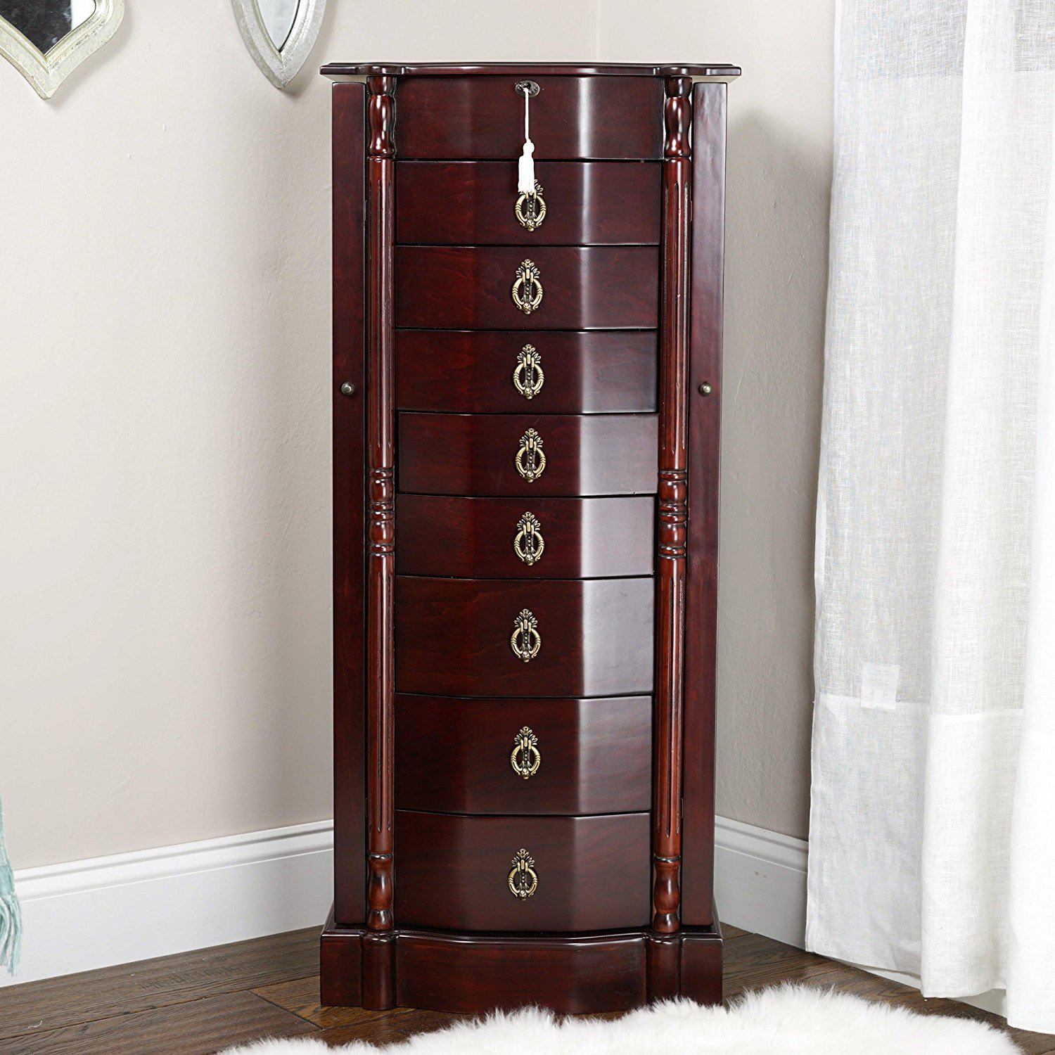 Lovely Elegant Cherry Brown Classic Large Capacity Jewelry Armoire