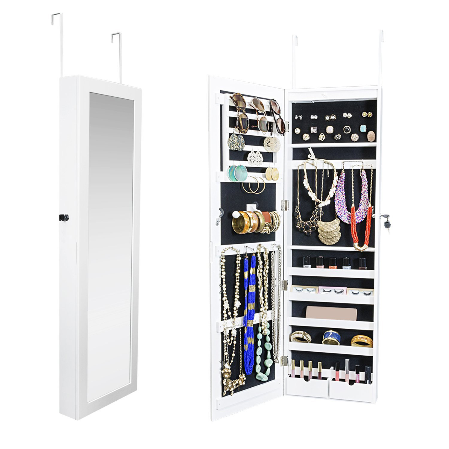 Elegant White Mirrored Over The Door Hanging Jewelry Armoire