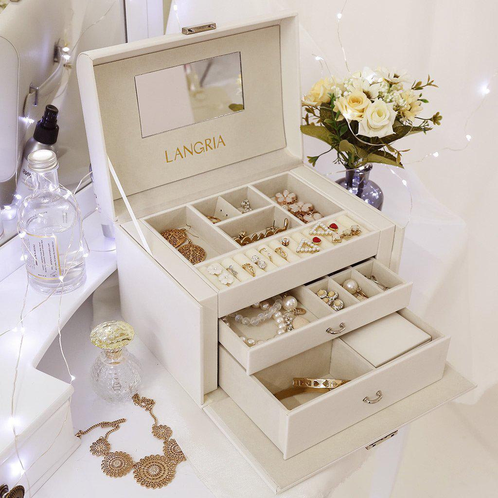 Beautiful Champagne White Large Capacity Countertop Jewelry Box