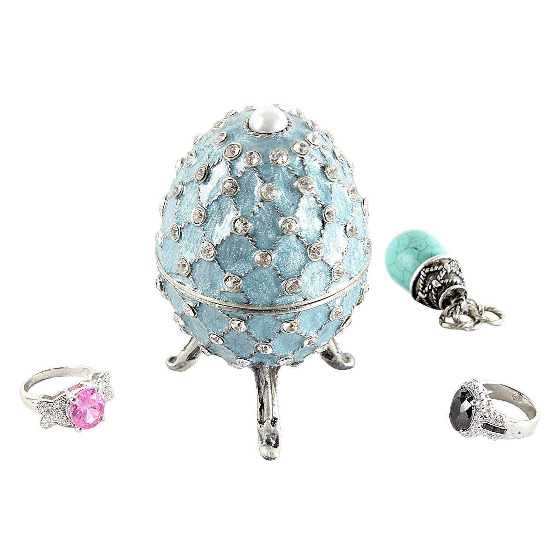 Beautiful Light Blue Swarovski Adorned Faberge Egg Jewelry Box