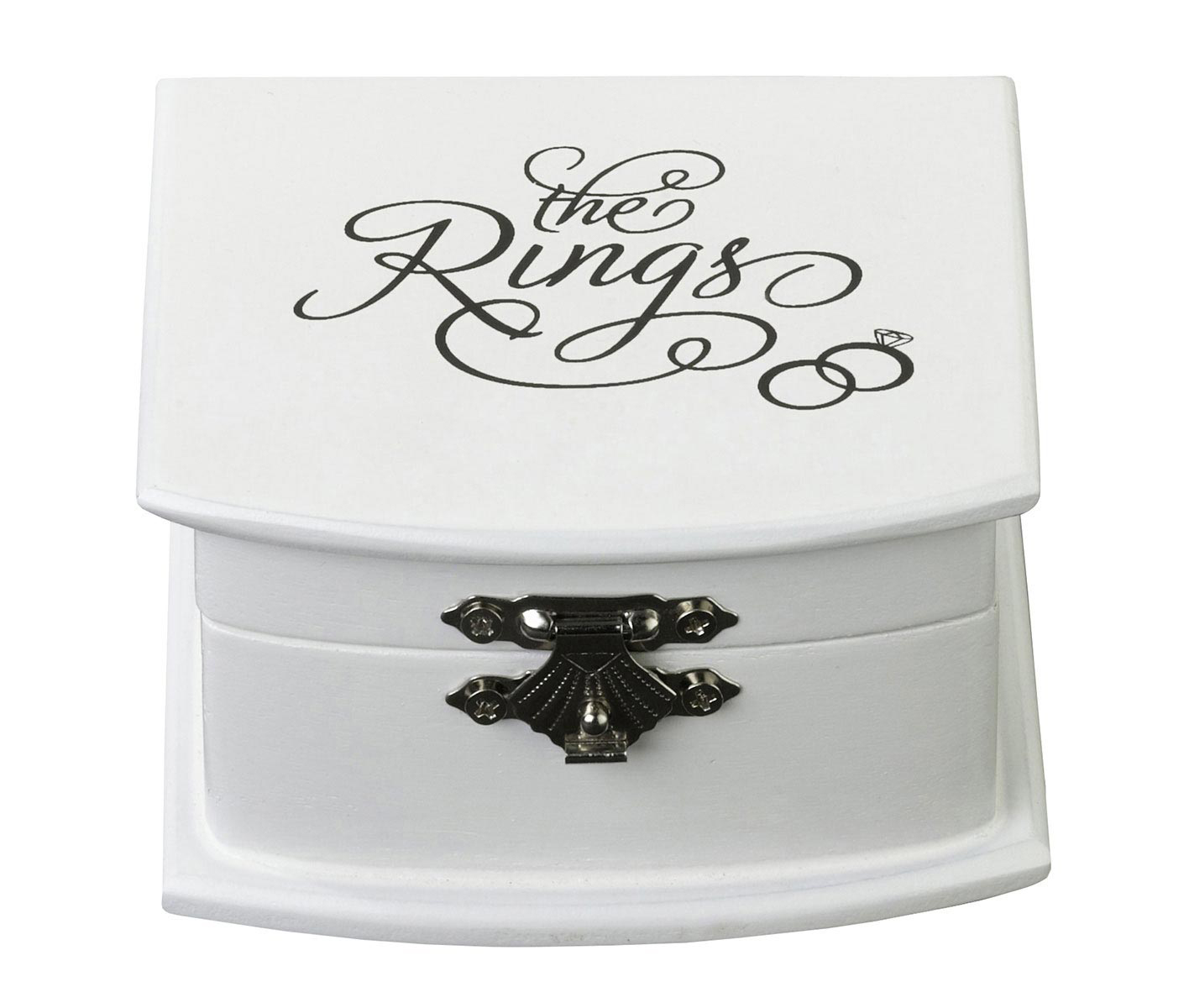 Beautiful White Metallic Hinge Wedding Ring Box