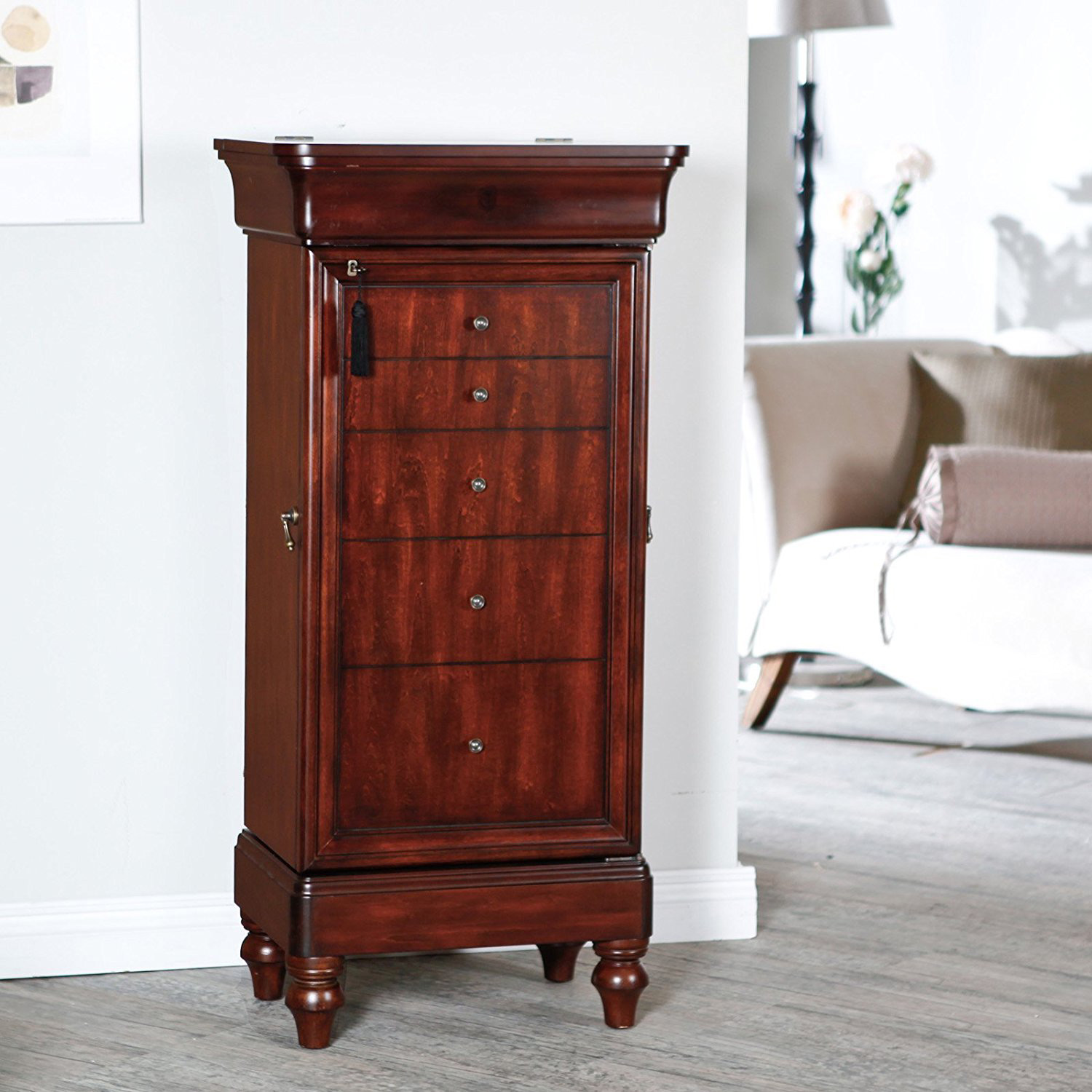 Classic Cherry Brown Wall Standing Rustic Jewelry Armoire