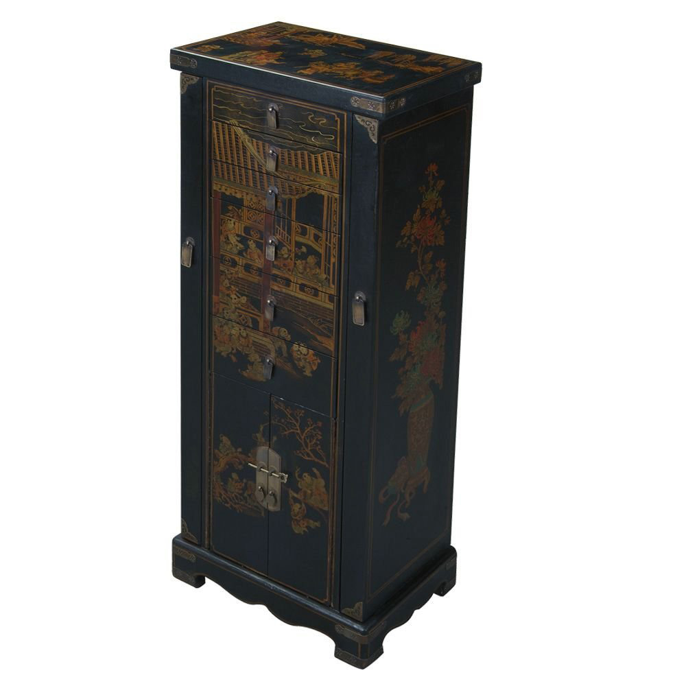 Creative Tall Oriental Theme Standing Jewelry Armoire