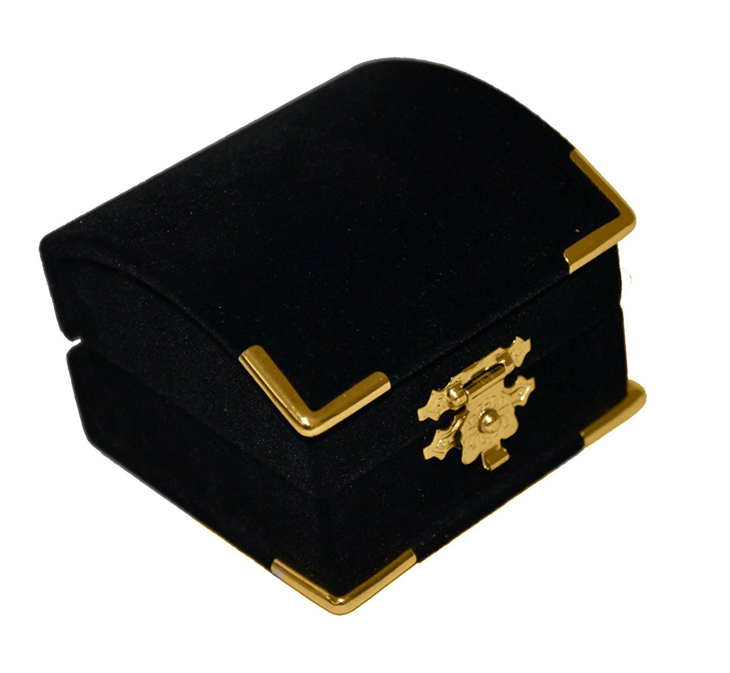 Elegant Black Gold Hinge Earring Box
