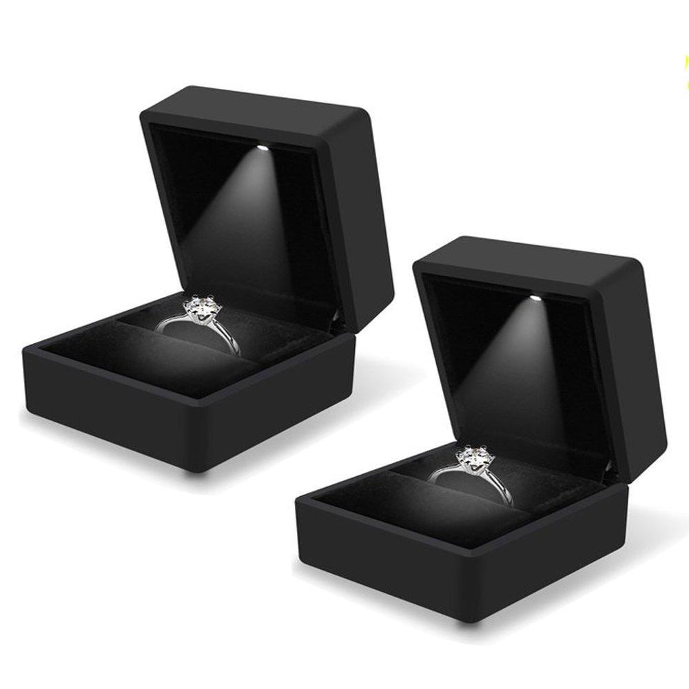 Elegant Black LED Lighted Engagement Ring Box