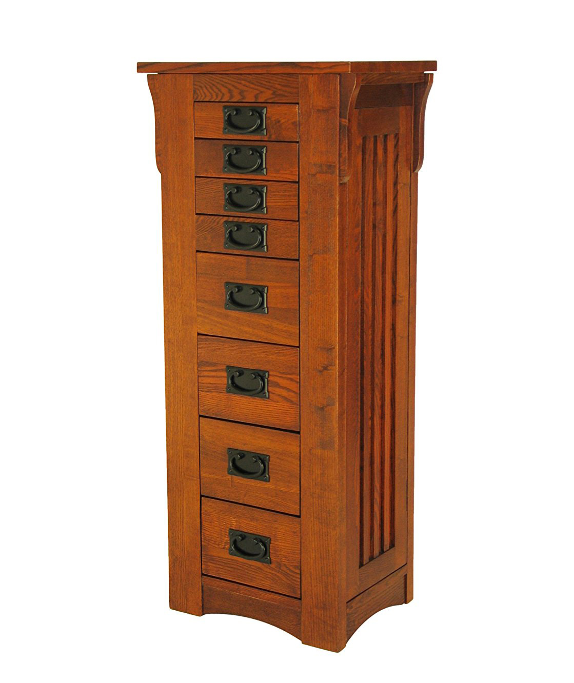 Simple Tower Style Oak Floor Standing Jewelry Armoire