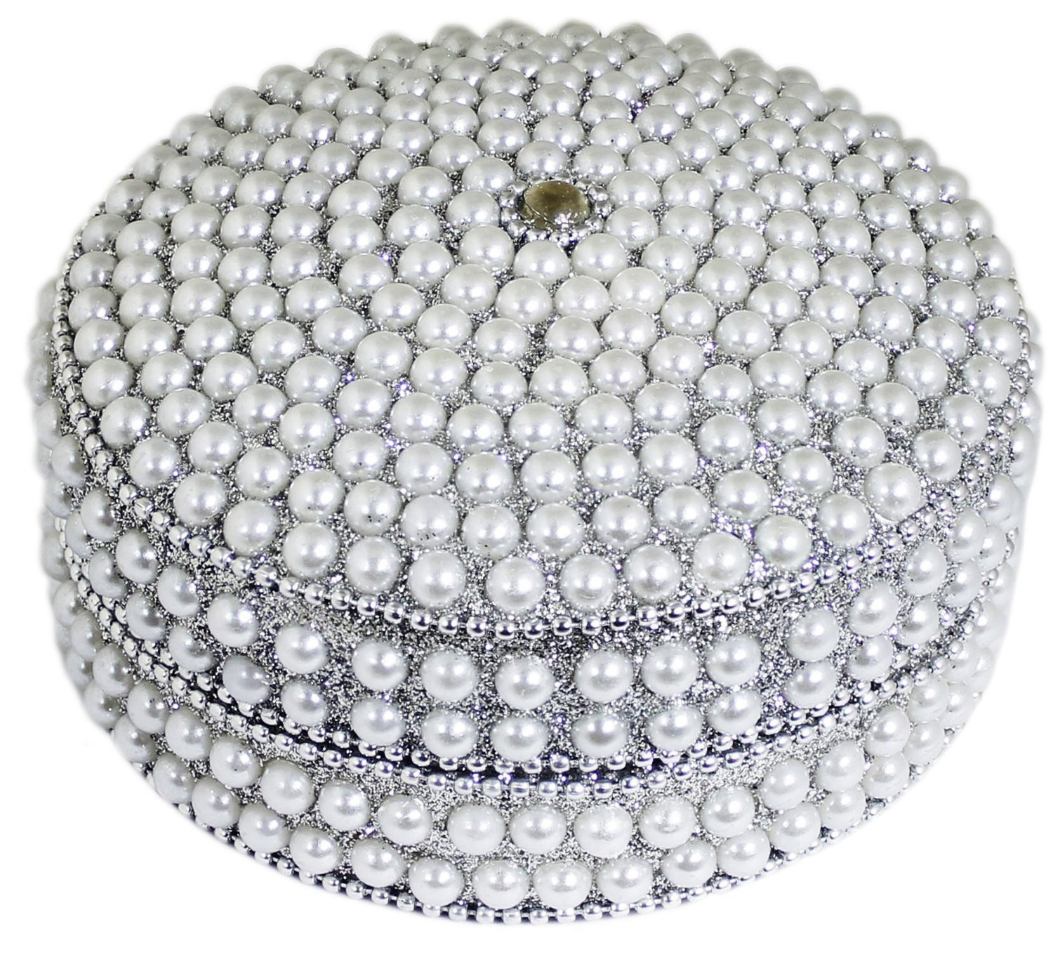 Stunning Antique Silver Bead Covered Jewelry Box